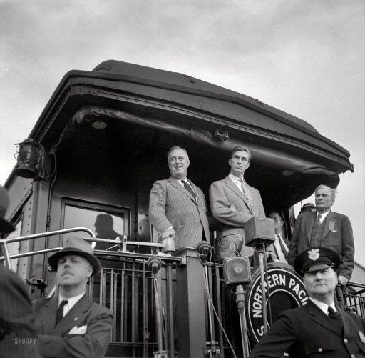 "August 1936. ""Tour of drought area. President Roosevelt speaking from train at Bismarck, North Dakota."" Medium format nitrate negative by Arthur Rothstein for the Resettlement Administration."