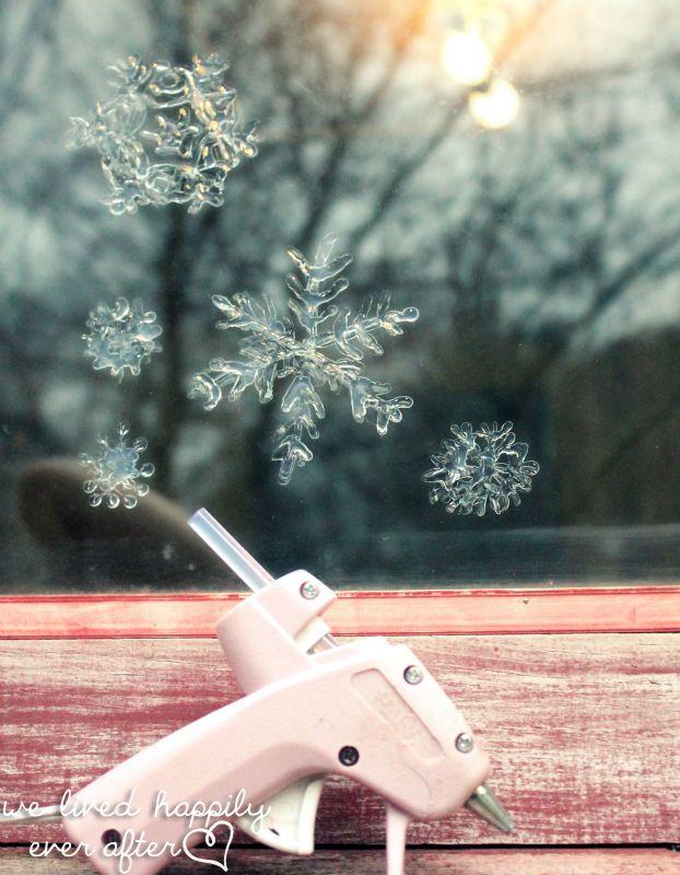 Glue gun Window Snowflakes- 22 Creative, Fun and Easy DIY Christmas Decor Projects