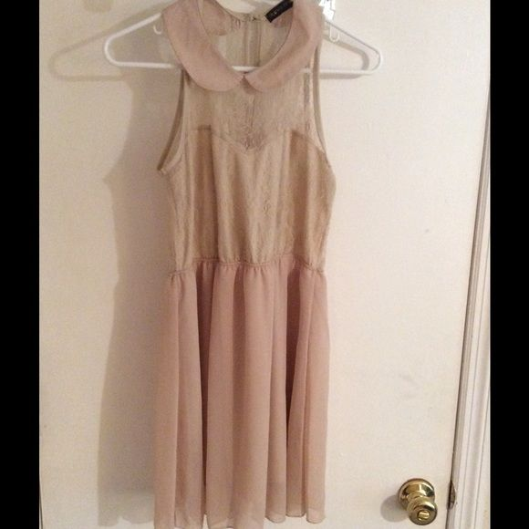 Tan dress Tan dress super cute lace neckline and back. 23.5 in from armpit to hem. Worn once good condition Dresses