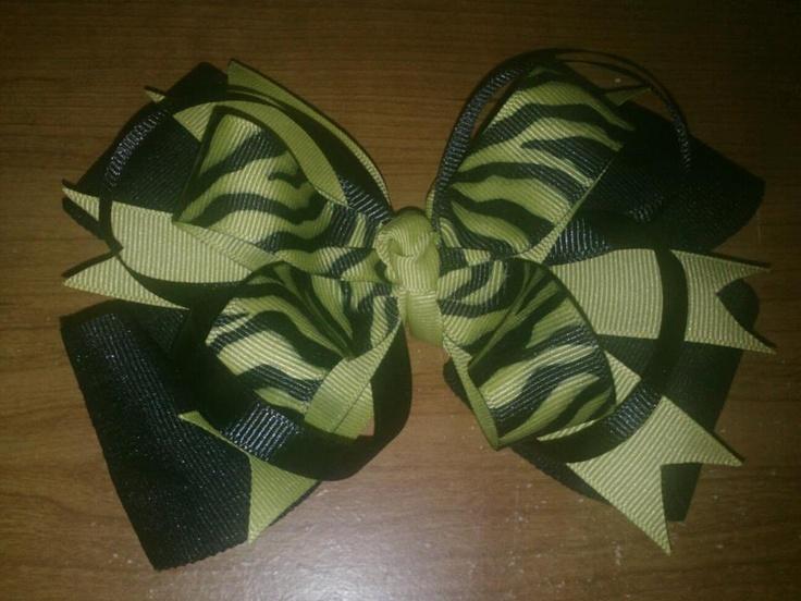 Green and black zebra OTT bow $8  https://www.facebook.com/pages/Tutu-Cute/171729329580274