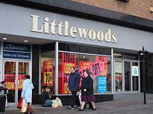 Littlewoods was a retail and football betting company founded in Liverpool, Merseyside, England by John Moores in 1923.[1] It grew to become the largest private company in Europe by the 1980s but declined in the face of increased competition from rivals and the Internet. Today the brand name remains as part of Shop Direct Group although the original company once employing 4,000 people has been broken up.