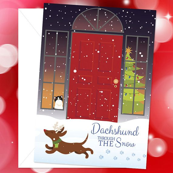 Dog Christmas Card - Dachshund Through the Snow