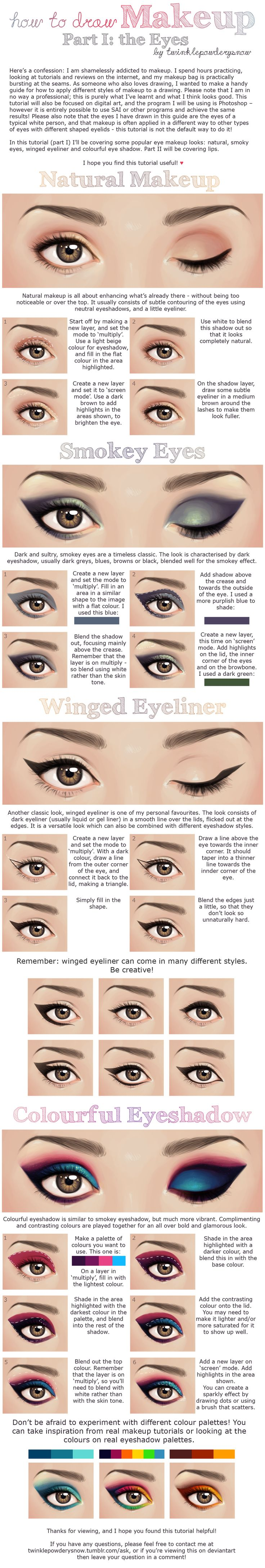 How to Draw Makeup - Part I: Eyes by TwinklePowderySnow on
