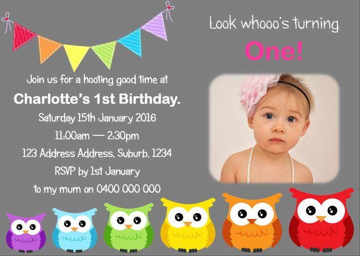 Owl First Birthday Invitation by KleezPrints on Etsy