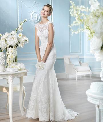 Blonde Looks Bateau Kort Erme Designer Bryllupskjoler