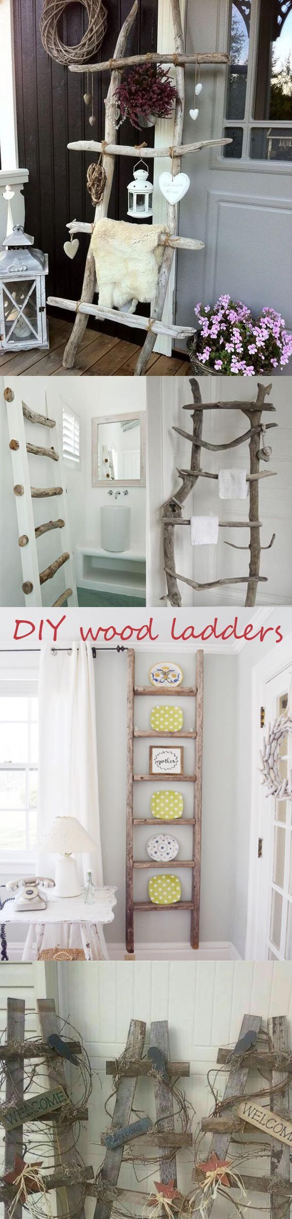 DIY Home décor ideas with natural wood and branch crafts to create a vintage look: DIY wood ladders to decorate your room