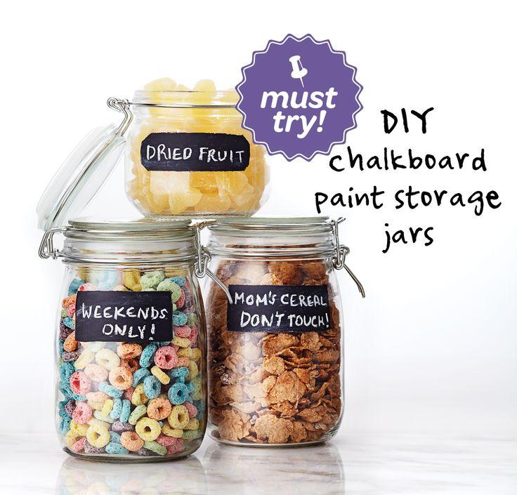 #DIY chalkboard paint storage jars #craft #howto #WalmartLiveBetter