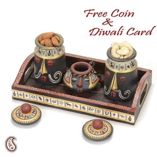 Set of Three Terracotta Dryfruit Jars with hand painted Lids and Tray - Online Shopping for Diwali Sweet Hampers by Apno Rajasthan