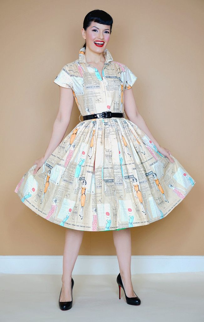 Kelly Dress in Take it Easy print - Bernie Dexter Pin Up Dresses and Vintage Inspired Clothing  - 1