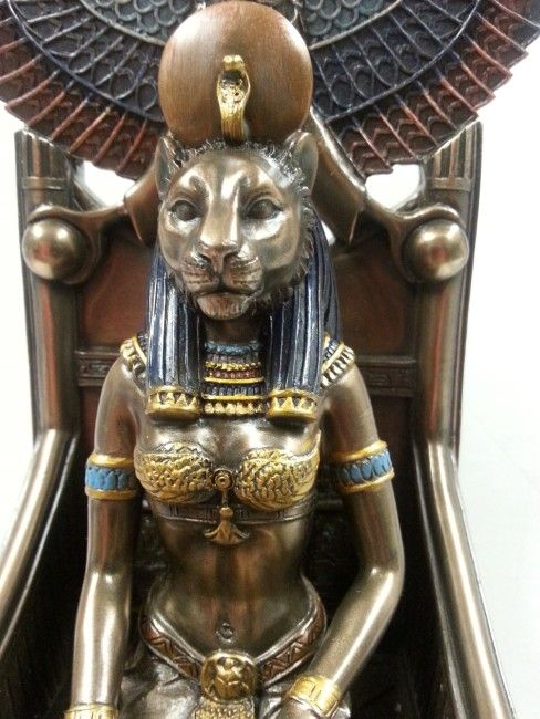 Sekhmet was represented as a lioness or as a woman with lion's head. Description from ebay.com. I searched for this on bing.com/images