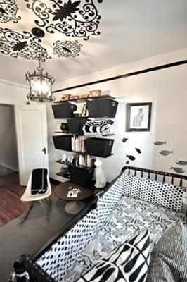 Black and White Baby Nursery: Our Black and White Baby Nursery was inspired by the light fitting. When we purchased the house this light fixture was in a bathroom. We decided its quirky