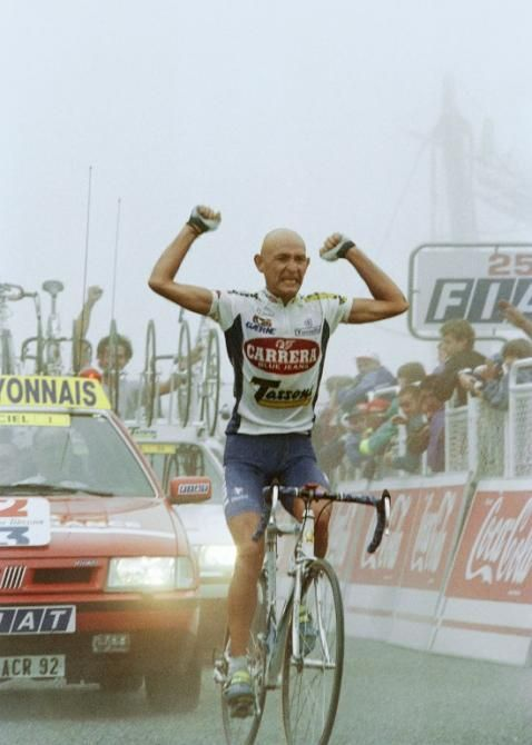 Marco Pantani celebrates his victory in stage 14 of the 1995 Tour de France.
