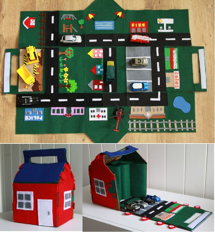 Felt Car Play Mat House - not exactly a quiet book but a really cool idea. (i would lilke to do)  Maybe for girls you could adapt it for Fairies or Dolls