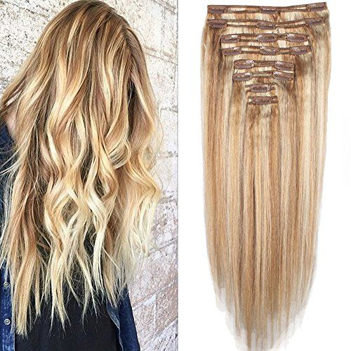 29 best human hair extensions images on pinterest human hair lelinta light ash blond mix bleach blonde thick real remy double weft full head clip in remy human hair extensions top grade human hairpiece click image pmusecretfo Image collections
