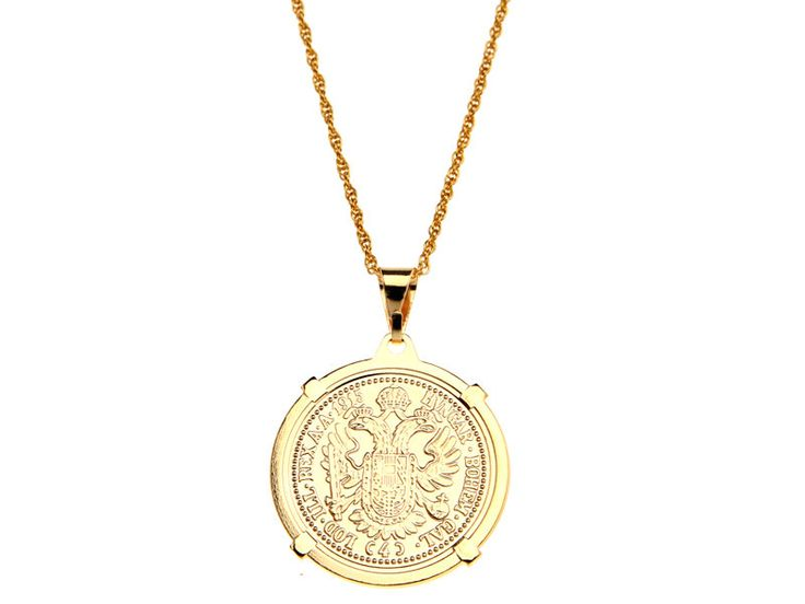 goldfilled coin pendant, gold coin necklace, 14k goldfilled, gold pendant, coin pendant necklace. $60.00, via Etsy.