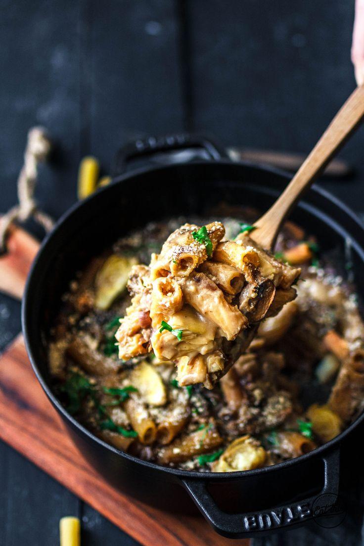 Pastaauflauf mit Pilzen & Artischocken