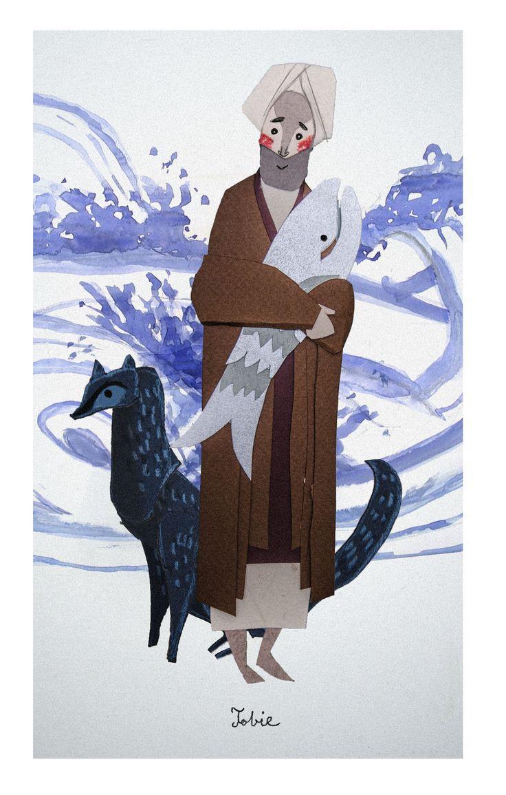 Tobiah / Tobie / Tobías // Illustration By Jakub Bednarz // Marche dans la Bible // Frères Dominicaines e Lille, France // #Prophets #Bible #OldTestament #fish #dog