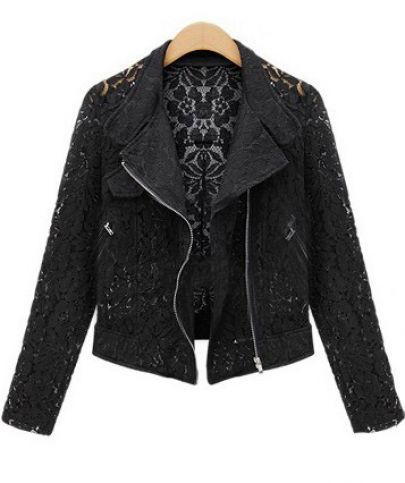 Black Long Sleeve Hollow Lace Crop Outerwear