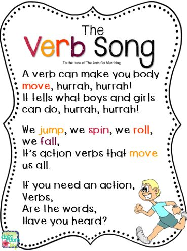 The Verb Song To The Tune Of The Ants Go Marching Print