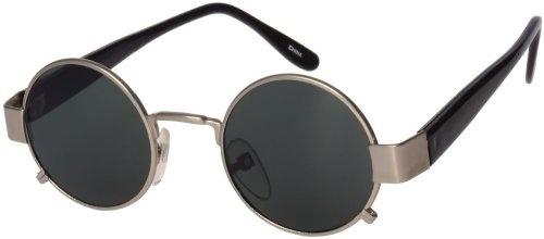 Lennon Style Steampunk Round Hippie Sunglasses (Silver ...