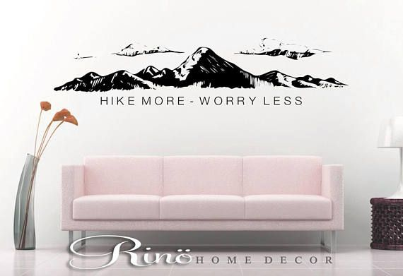 Hike more worry less wall decal wall quote vinyl lettering