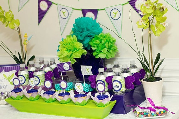 Neverland Tinkerbell Birthday Party Color Scheme Purple Green Blue Yellow And White Kids