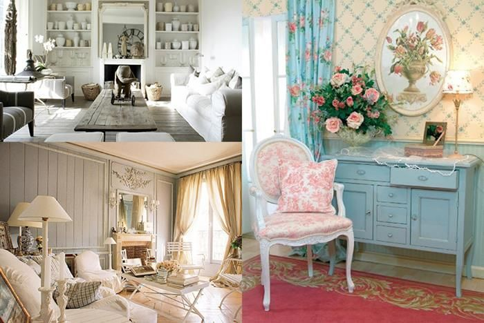 three versions of vintage shabby chic interiors, large rough wooden table, french sofa and beige curtains, white antique chair, with pink pattern near pale blue vintage cupboard
