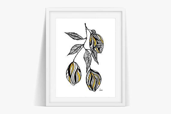 Check out Lemon Branch Art Print Poster Digital Download on janesapple