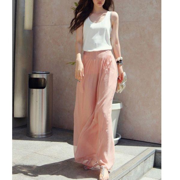 hot mode nieuwe vrouwen chiffon losse wijde pijpen broek lange broek