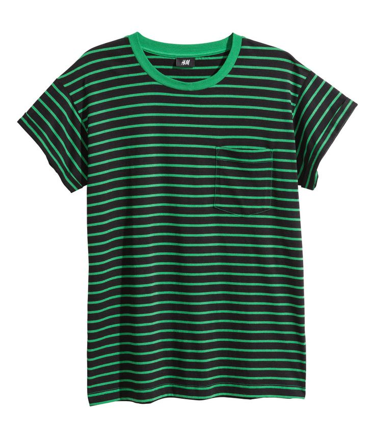 black green striped t shirt with chest pocket and sewn