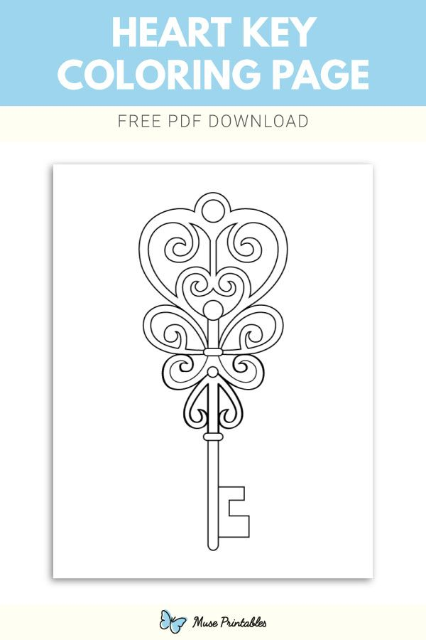 Free Printable Heart Key Coloring Page Download It At Https