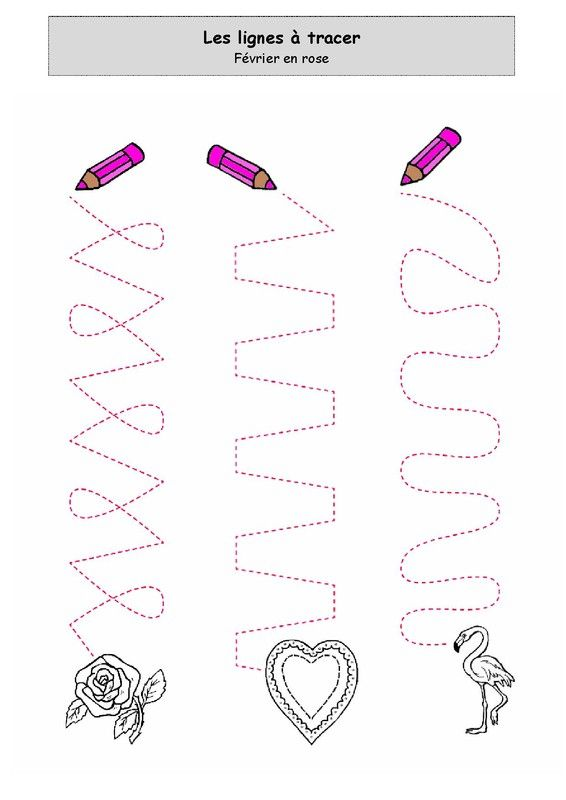 Fiche d'activité niveau maternelle de type graphisme - Les chemins à tracer - Février en Rose