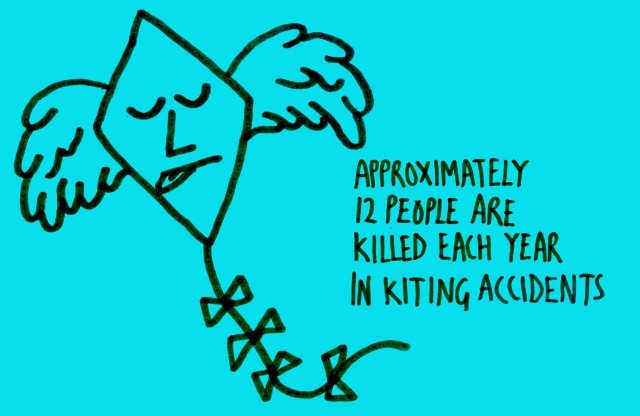 Approximately 12 people are killed each year in kiting accidents