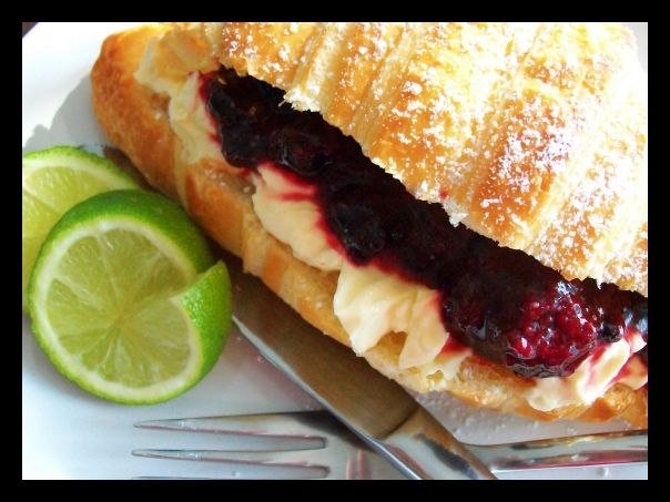 Fresh Croissants filled with Warm Mix Berries and Vanilla and Lemon Mascarpone