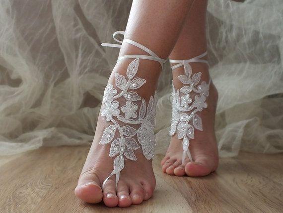 White Beach wedding barefoot sandals White laca by ByVIVIENN