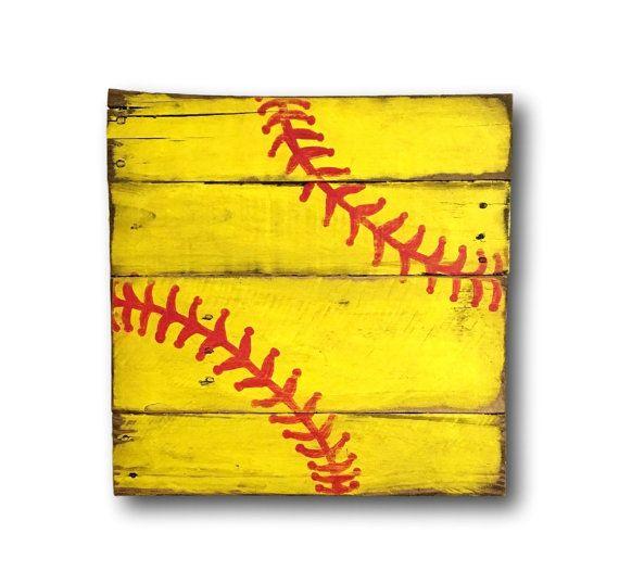 Wood Softball Sign - Softball Bedroom Decor - Softball Wall Art