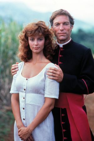 Richard Chamberlain and Rachel Ward. The Thorn Birds. Hard to forget this miniseries. I watched with my mom.