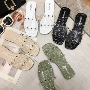 2019 Wholesale Fashion Dress Shoes Summer Casual Transparent Square Head Slippers Women