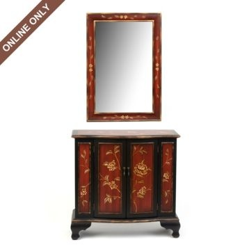 Red Cabinet @Meredith Kirkland's Love the red                                                                                                            Red Cabinet & Mirror Set      $299.99