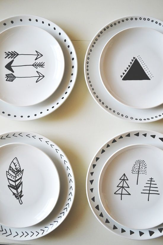 Love these plates - can probably do easily with a ceramic marker and white plates. though im not sure how i feel about eating off a marker-baked plate, possibly on side of mug?