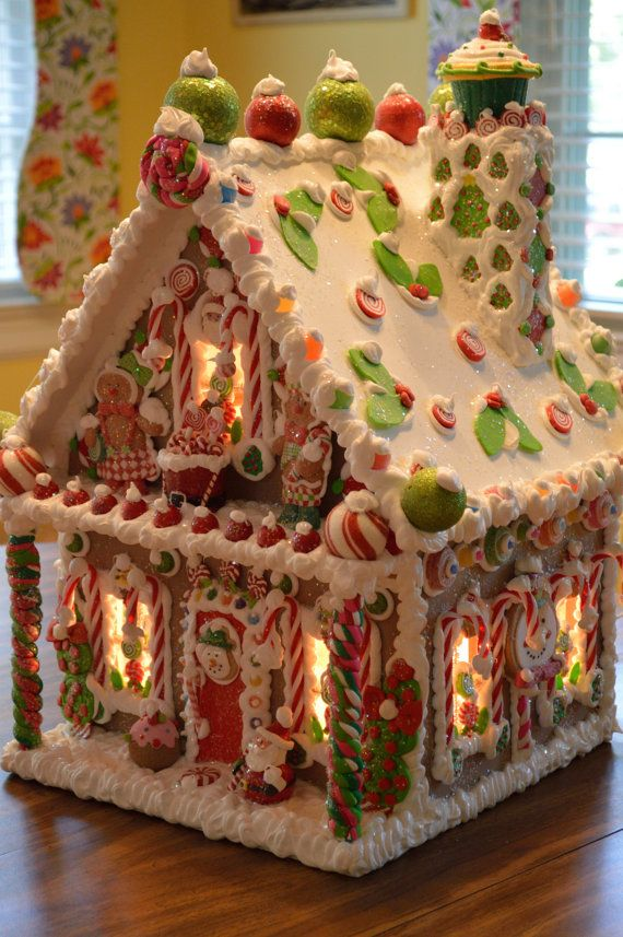 Another gorgeous personalized wood-wired Christmas gingerbread house by cathypagedaniel on etsy.com. Expensive, yes, but worth every penny since its non-perishable and can be handed down through the family for many, many years! Simply gorgeous, and the cutest gingerbread houses I've ever seen!!!