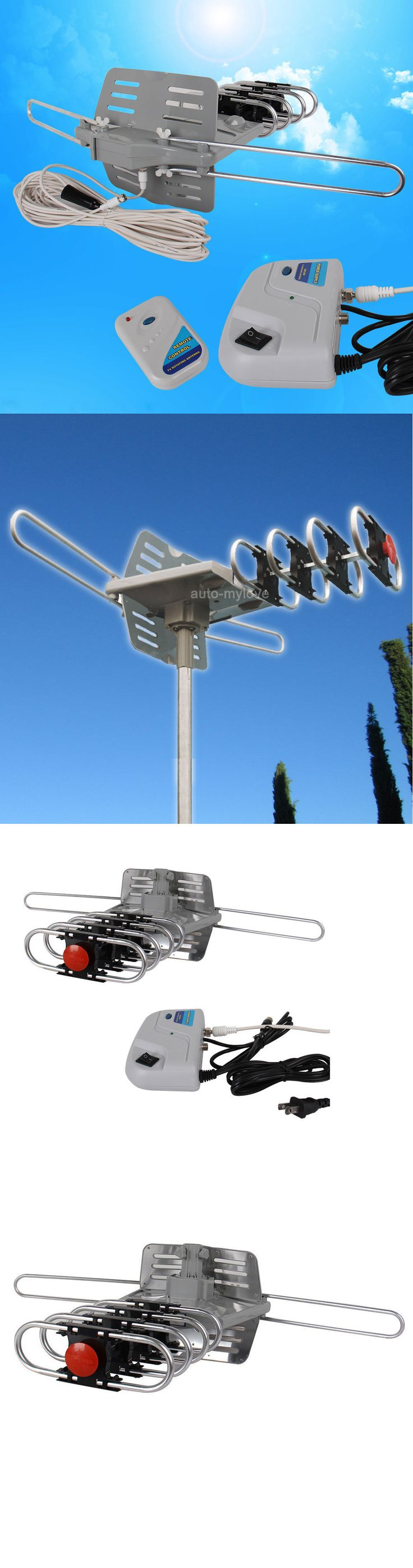 Antennas and Dishes: Long Range 150Miles Outdoor Tv Antenna Motorized Amplified Hdtv Uhf Vhf 36Db BUY IT NOW ONLY: $33.57