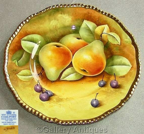 "Coalport Fruit pears and grapes Still Life 10 3/4"" Porcelain Cabinet Plate Designed and Handpainted by Mary Dennis c.1970's (ref: 3204)"