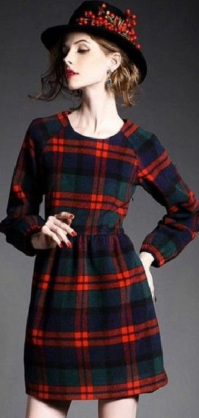 Multi Plaid Round Neck Long Sleeve Dress