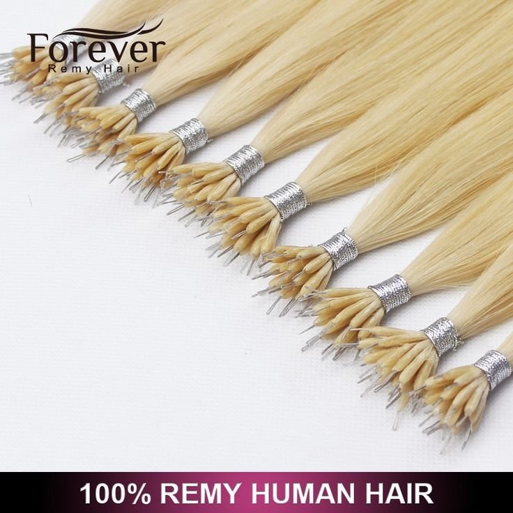 Forever hair 100% human Double Drawn European russian curly nano ring virgin remy hair extension