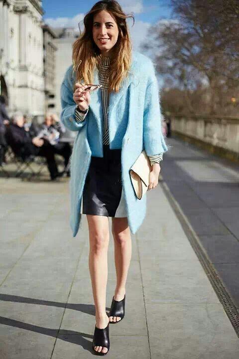 LFW Street style 2014- I love the blue coat!