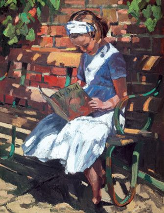 """booksdirect:    """"A Secluded Spot"""" - painting of a girl reading by Sherree Valentine Daines."""