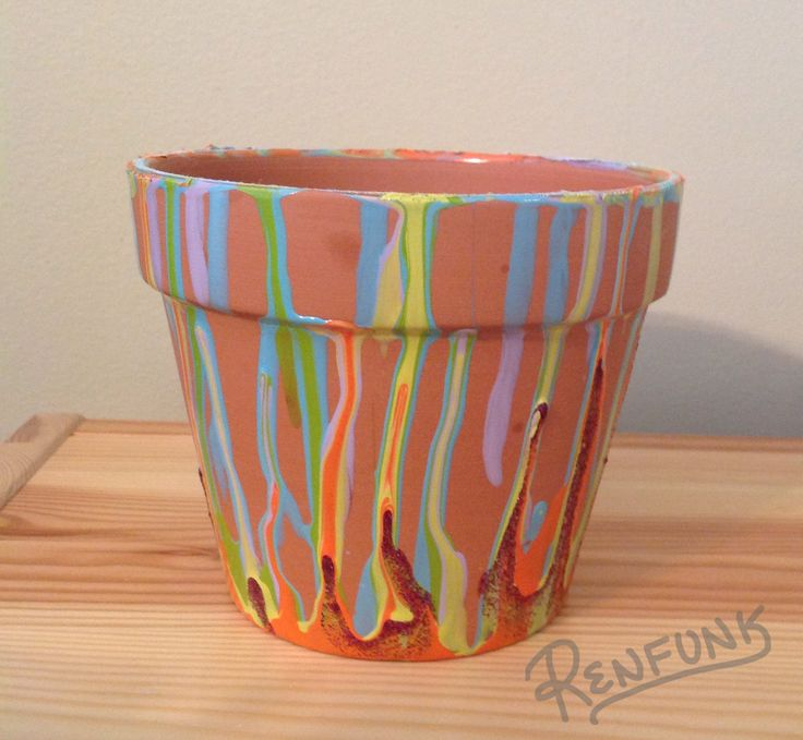 Plant pot turned upside down & dripped old nail polish all over it.