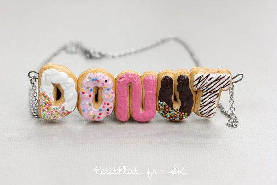 Custom Initials Necklace with Donuts - Colorful Words