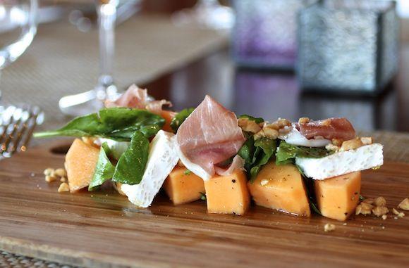 Melon Salad ~ Cantaloupe, Prosciutto, Saint André Cheese, Arugula ...